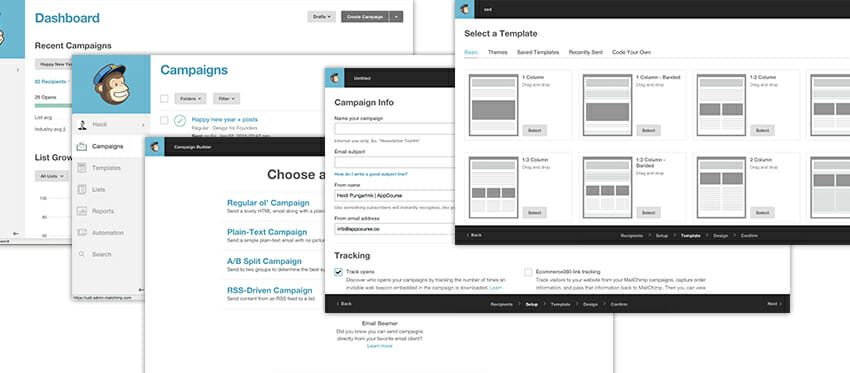 Mailchimp has a nice user flow that guides you through creating an email campaign with a breeze.