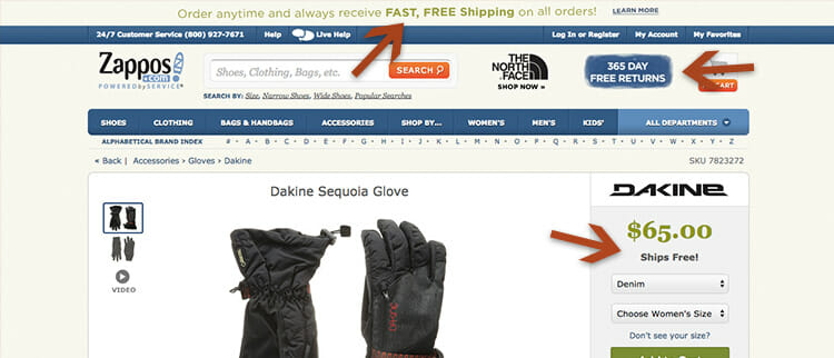 Zappos prominently showcases their free shipping