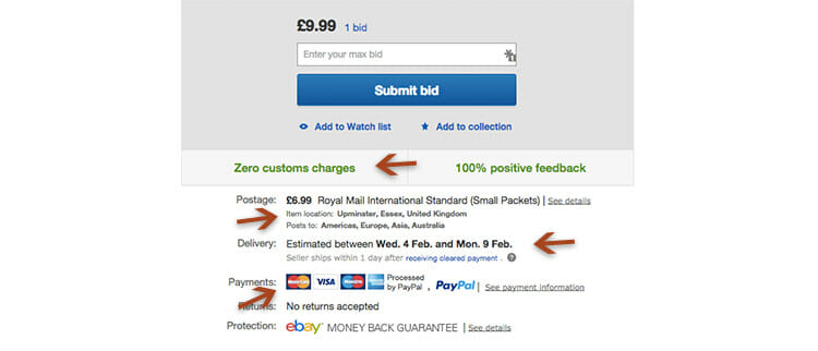 eBay gives you all the information up-front
