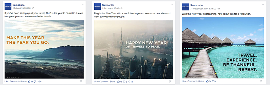 Samsonite's posts are recognisable even without any visible branding.