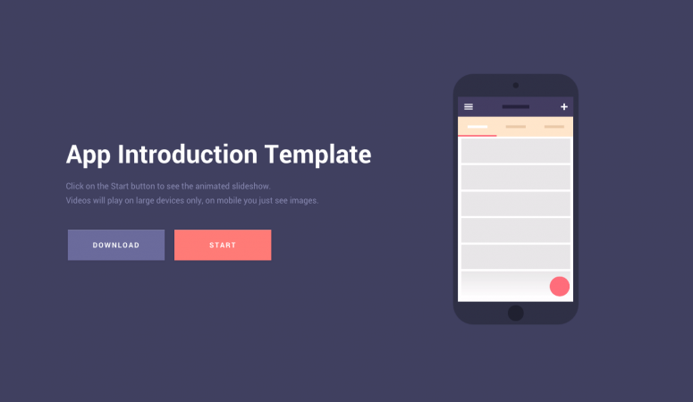 html template mobile introduction app