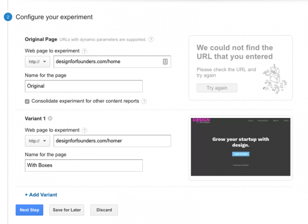 google analytics experiments step 2