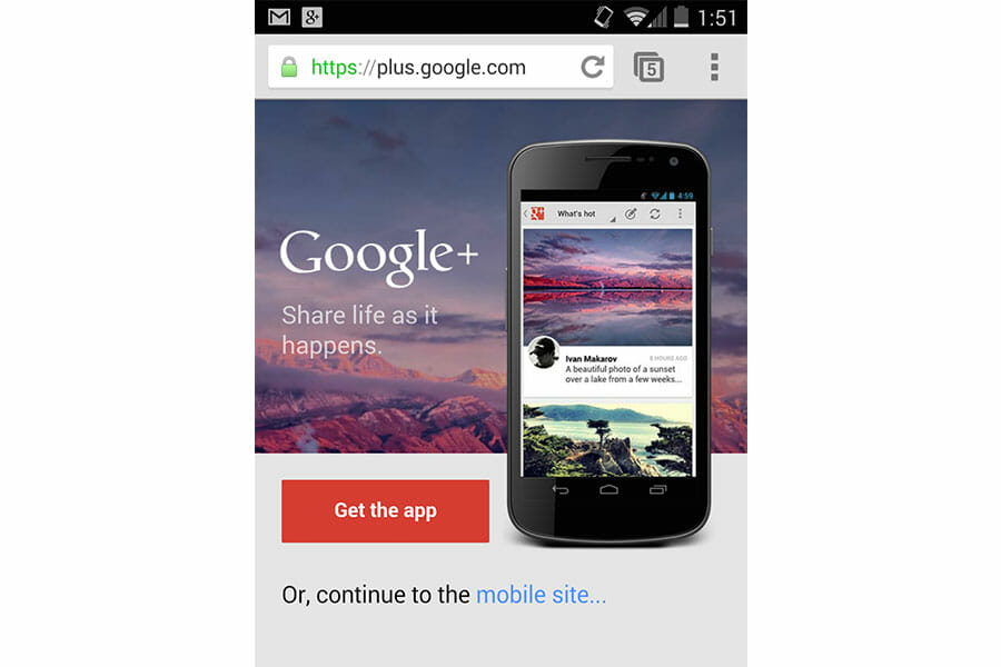 Google+ Tests a Promo Banner on Mobile, ab testing examples