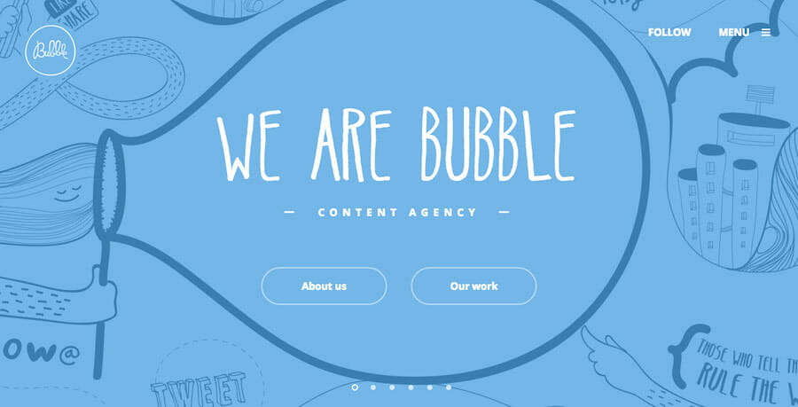 Follow Bubble website design inspiration