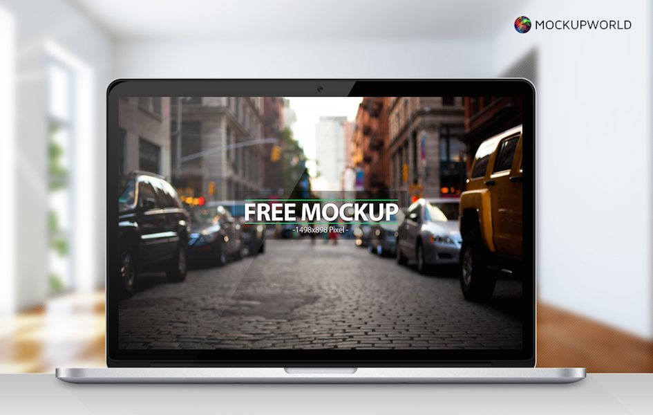 Macbook Pro Retina (with 4 backgrounds) Mockup, free design mockups