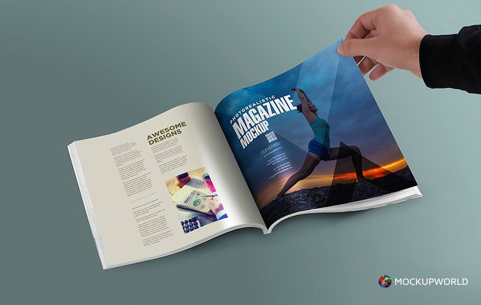 Browsing a Magazine Mockup, free design mockups