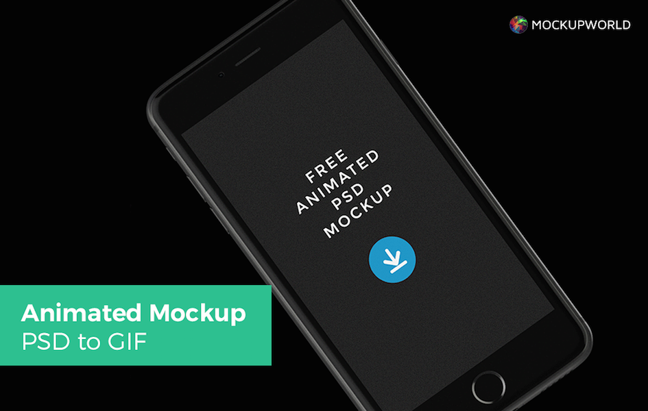 Animated Black iPhone Mockup, free design mockups