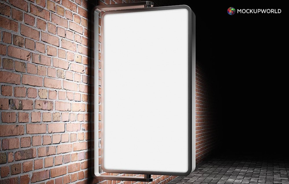 Illuminated Outdoor Billboard Mockup, free design mockups
