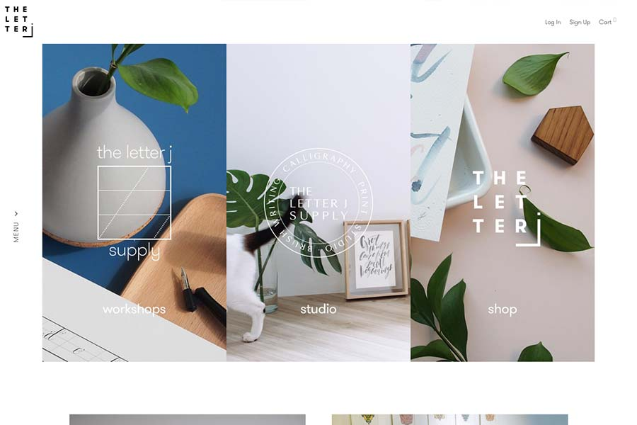 The Letter J Supply, ecommerce site design inspiration