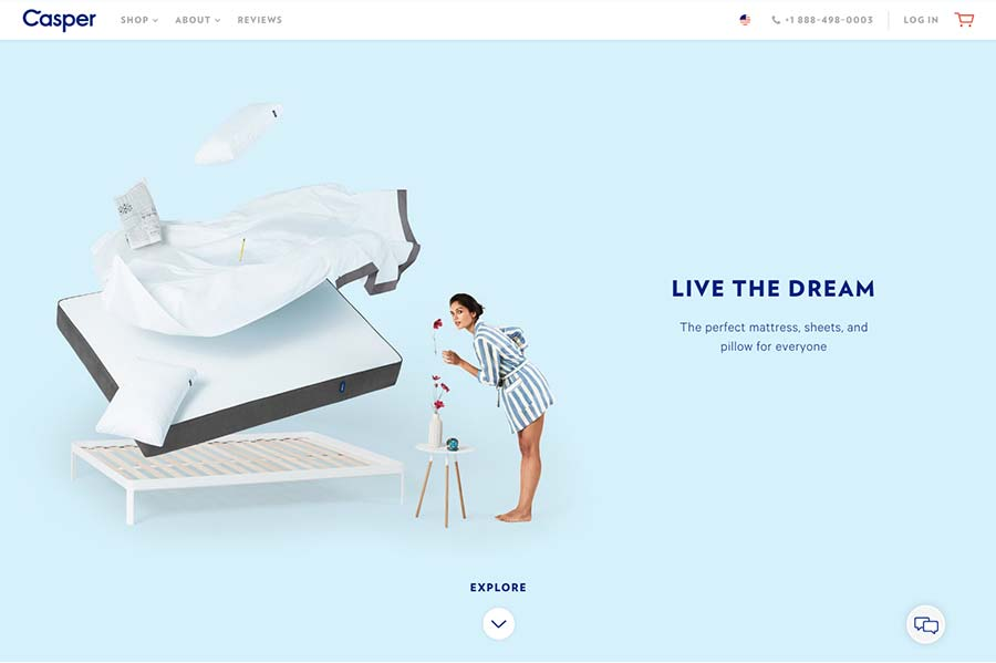 Casper, ecommerce site design inspiration