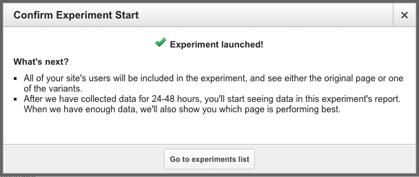 google analytics experiments final step