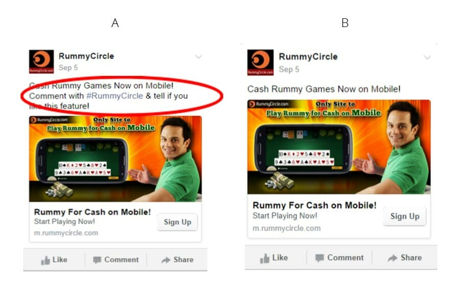 RummyCircle's Mobile Facebook Ad, ab testing examples