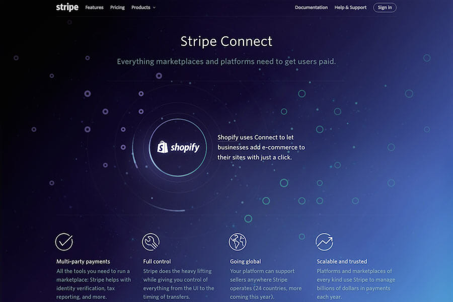 Stripe Connect, website design inspiration