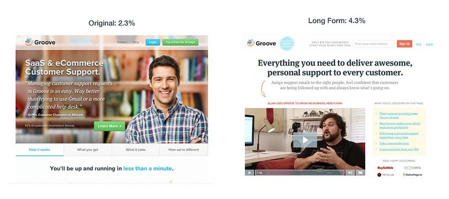Groove's Landing Page Redesign, ab testing examples