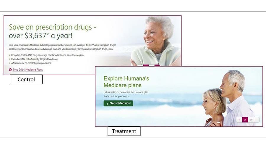 Humana's Banner Test, ab testing examples