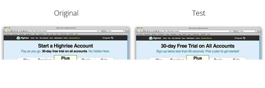 2. Highrise's Headline & Subheadline Test, ab testing examples