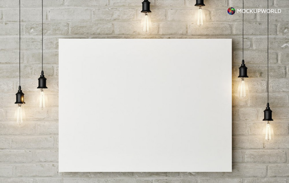 Painting on a Wall Mockup, free design mockups