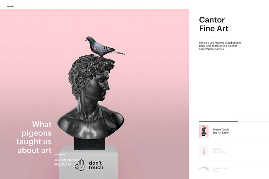 Cantor Fine Art, ecommerce site design inspiration